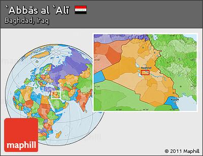 Political Location Map of `Abbās Al `Alī
