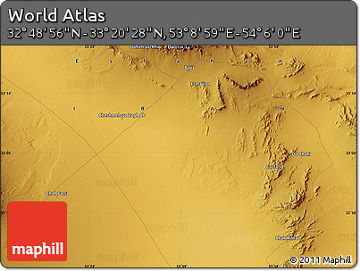 """Physical Map of the Area around 33°4'42""""N,53°37'30""""E"""