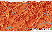 """Political 3D Map of the area around 33°4'42""""N,66°22'30""""E"""