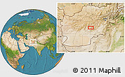 """Satellite Location Map of the area around 33°4'42""""N,66°22'30""""E"""