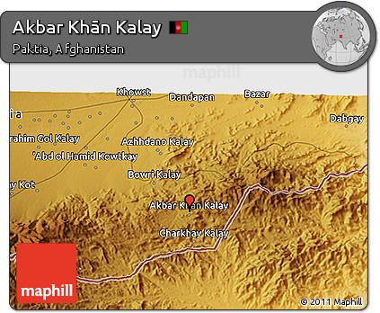 Physical 3D Map of Akbar Khān Kalay