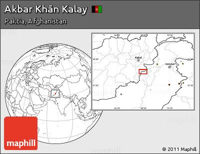 Blank Location Map of Akbar Khān Kalay