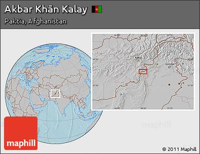 Gray Location Map of Akbar Khān Kalay, hill shading