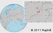 Gray Location Map of Akbar Khān Kalay