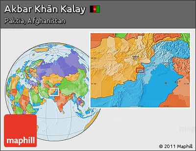 Political Location Map of Akbar Khān Kalay