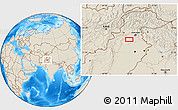 """Shaded Relief Location Map of the area around 33°4'42""""N,72°19'29""""E"""