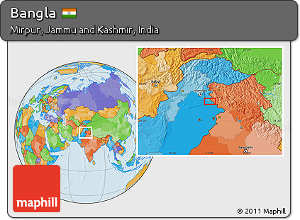 Free Political Location Map of Bangla