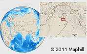 """Shaded Relief Location Map of the area around 33°4'42""""N,74°1'30""""E"""