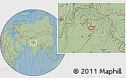 """Savanna Style Location Map of the area around 33°4'42""""N,74°52'30""""E, hill shading"""