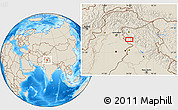 """Shaded Relief Location Map of the area around 33°4'42""""N,74°52'30""""E"""
