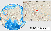 Shaded Relief Location Map of Risum