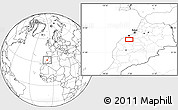 """Blank Location Map of the area around 33°4'42""""N,7°34'30""""W"""