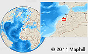 """Shaded Relief Location Map of the area around 33°4'42""""N,7°34'30""""W"""