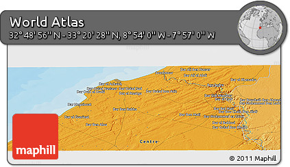 """Political Panoramic Map of the Area around 33°4'42""""N,8°25'30""""W"""