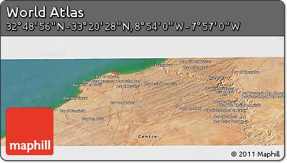 "Satellite Panoramic Map of the Area around 33°4'42""N,8°25'30""W"