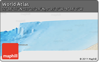 """Shaded Relief Panoramic Map of the Area around 33°4'42""""N,9°16'30""""W"""