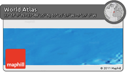 """Shaded Relief Panoramic Map of the Area around 33°32'52""""N,10°7'30""""W"""