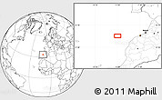 """Blank Location Map of the area around 33°32'52""""N,10°58'29""""W"""
