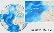 """Shaded Relief Location Map of the area around 33°32'52""""N,10°58'29""""W"""