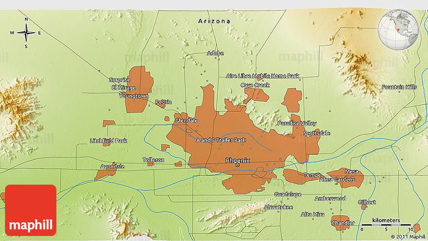 3d Map Of Arizona.Physical 3d Map Of Phoenix