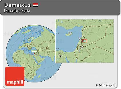Free Savanna Style Location Map of Damascus on