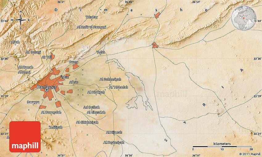 Satellite Map of Damascus on libya map, umayyad mosque, medina map, sanaa map, amman map, constantinople map, asma al-assad, belgrade map, bashar al-assad, jordan map, aleppo map, ankara map, sinai peninsula map, syria map, euphrates river map, canaan map, muscat map, tyre map, beirut on a map, mecca map, jerusalem map, iraq map, persia map,