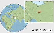 "Savanna Style Location Map of the area around 33°32'52""N,51°55'29""E"