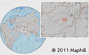 Gray Location Map of Ajrestān, hill shading