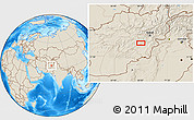 """Shaded Relief Location Map of the area around 33°32'52""""N,68°4'29""""E"""