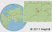 "Savanna Style Location Map of the area around 33°32'52""N,69°46'30""E"