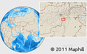 """Shaded Relief Location Map of the area around 33°32'52""""N,69°46'30""""E"""
