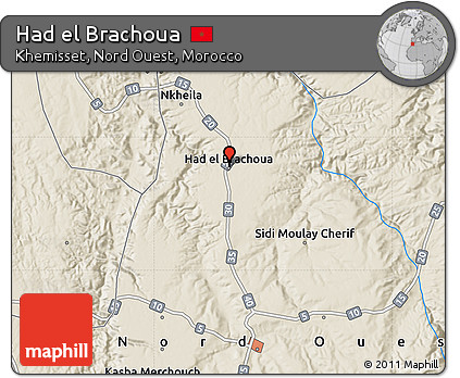 Free Shaded Relief Map of Had El Brachoua