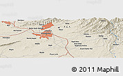 Shaded Relief Panoramic Map of Ra Bāzār