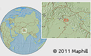 """Savanna Style Location Map of the area around 33°32'52""""N,74°52'30""""E, hill shading"""