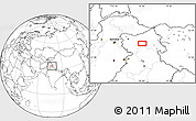 """Blank Location Map of the area around 33°32'52""""N,76°34'29""""E"""