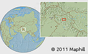 """Savanna Style Location Map of the area around 33°32'52""""N,76°34'29""""E, hill shading"""