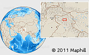 """Shaded Relief Location Map of the area around 33°32'52""""N,76°34'29""""E"""