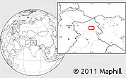 """Blank Location Map of the area around 33°32'52""""N,77°25'30""""E"""