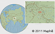 """Savanna Style Location Map of the area around 33°32'52""""N,77°25'30""""E, hill shading"""