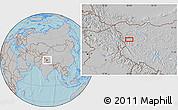 Gray Location Map of Wüjang, hill shading