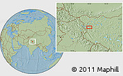 Savanna Style Location Map of Wüjang, hill shading