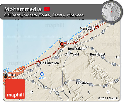 Free Shaded Relief Map of Mohammedia