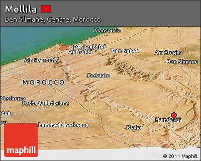 Satellite Panoramic Map of Mellila