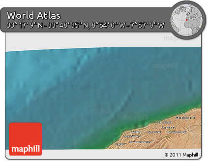 """Satellite 3D Map of the Area around 33°32'52""""N,8°25'30""""W"""