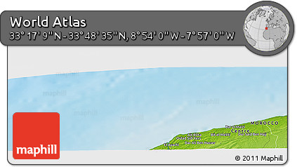 """Physical Panoramic Map of the Area around 33°32'52""""N,8°25'30""""W"""