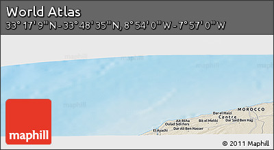"""Shaded Relief Panoramic Map of the Area around 33°32'52""""N,8°25'30""""W"""