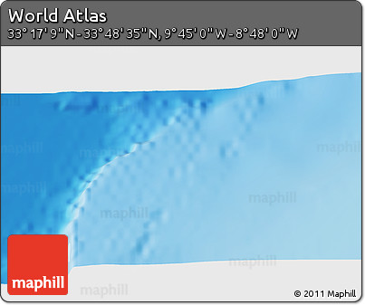 "Shaded Relief 3D Map of the Area around 33° 32' 52"" N, 9° 16' 30"" W"