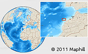 """Shaded Relief Location Map of the area around 33°32'52""""N,9°16'30""""W"""