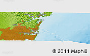 """Physical Panoramic Map of the area around 33°42'13""""S,151°22'30""""E"""