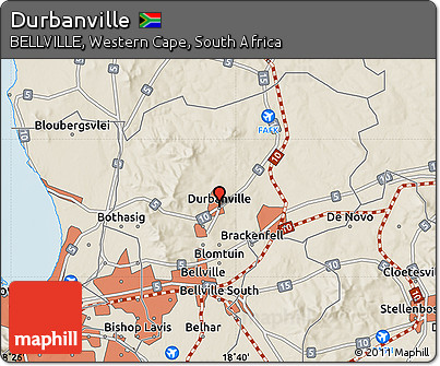 Free Shaded Relief Map of Durbanville